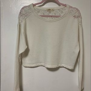 White lace crop sweater